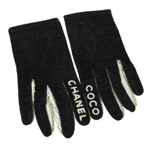 Auth CHANEL Logos Ladies Gloves Silver Leather